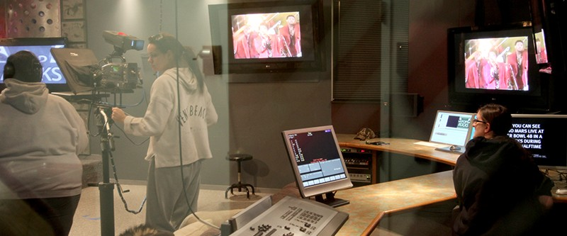 Side view of tv news studio from window